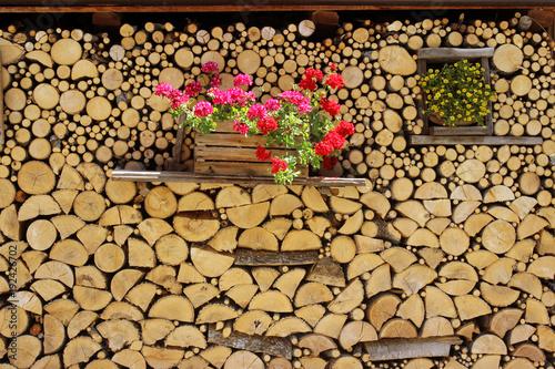 Keuken foto achterwand Brandhout textuur leña y flores