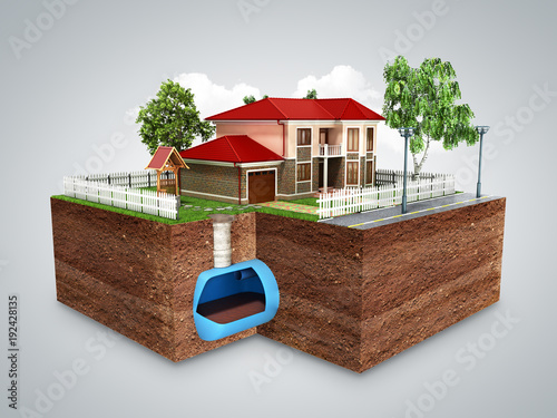 Valokuva  concept of Sewerage in a private house 3d render on grey