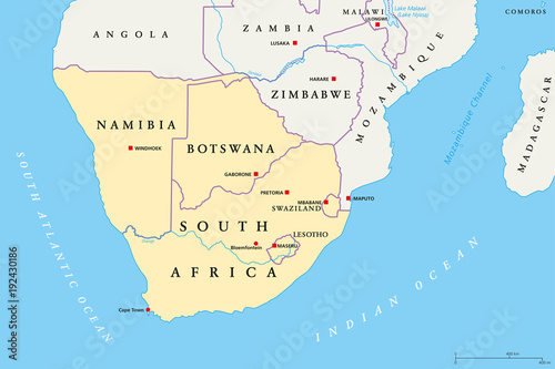 Namibia On Africa Map.Southern Africa Region Political Map Southernmost Region Of African