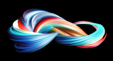 3D Rendering Of Colorful Abstract Twisted Wavy Shape In Motion. Computer Generated Geometric Digital Art