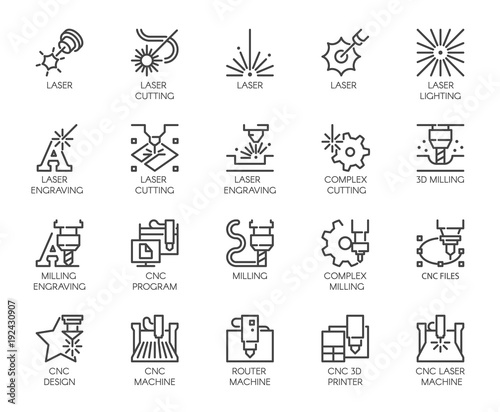 Set of 20 line icons in series of laser cutting Fototapet