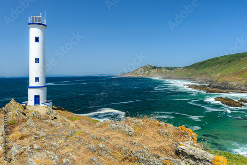 In de dag Vuurtoren Lighthouse of cape Home, Pontevedra, Spain