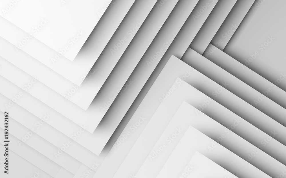 Abstract white background, geometric 3d
