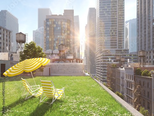 garden in a big city. living concept. 3d rendering