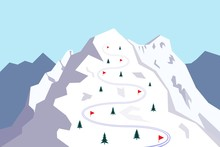 Snow Covered Mountain With Ski Track. Skiing Trace Marked With Red Flags. Vector Illustration.