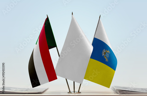 Tuinposter Canarische Eilanden Flags of Sudan and Canary Islands with a white flag in the middle