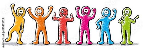 Set: Motivierte und erfolgreiche Business-Strichmännchen mit lachenden Gesichter Canvas-taulu