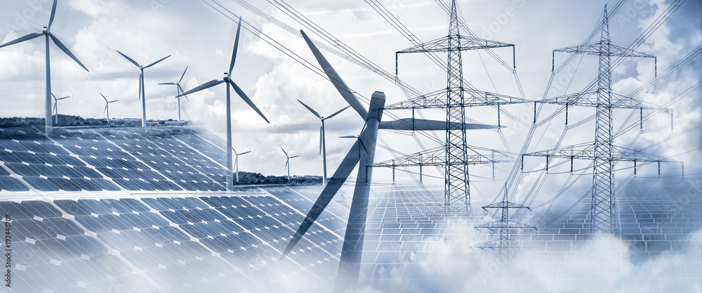 Fototapeta Stromversorgung mit Sonnenenergie und Windkraft