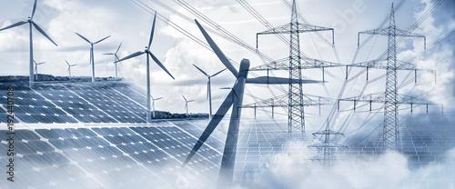 Obraz Stromversorgung mit Sonnenenergie und Windkraft - fototapety do salonu