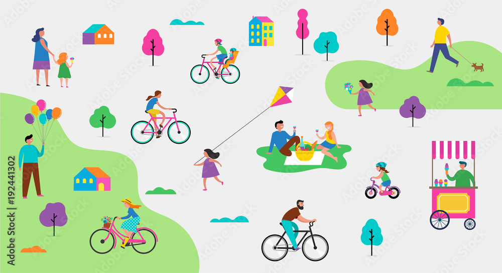 Fototapeta Summer outdoor scene with active family vacation, park activities illustration with kids, couples and families.
