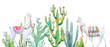 canvas print picture - Watercolor cactus composition