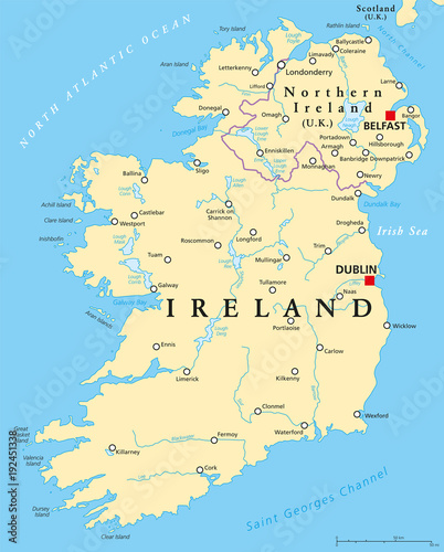 Photo  Ireland and Northern Ireland political map with capitals Dublin and Belfast, borders, important cities, rivers and lakes