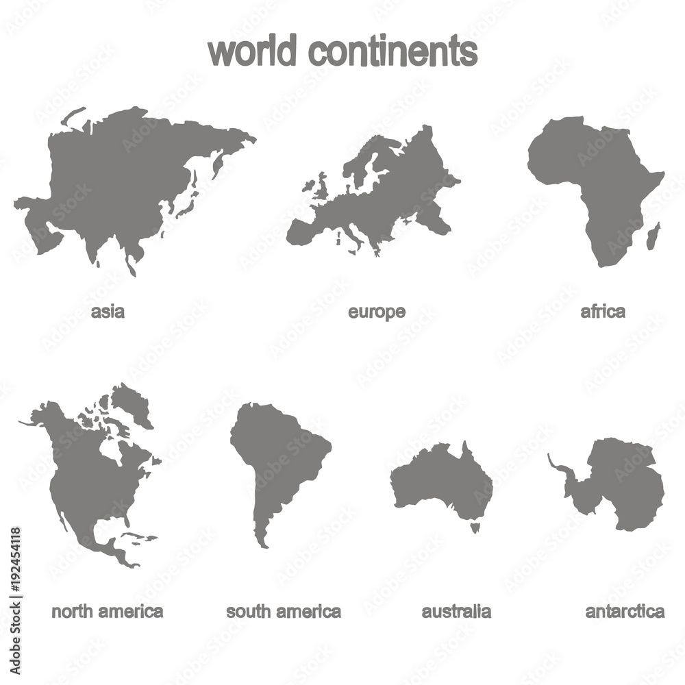 Fototapety, obrazy: Set of monochrome icons with world continents for your design