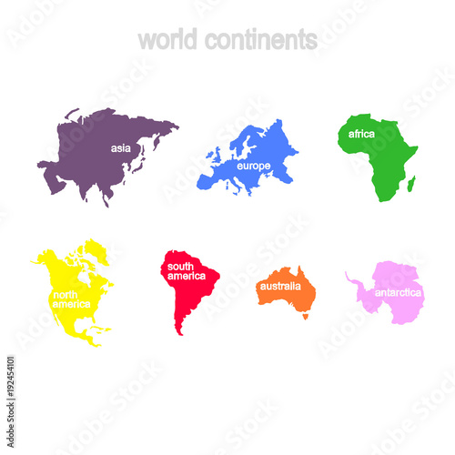 Fotografie, Obraz Set of monochrome icons with world continents for your design