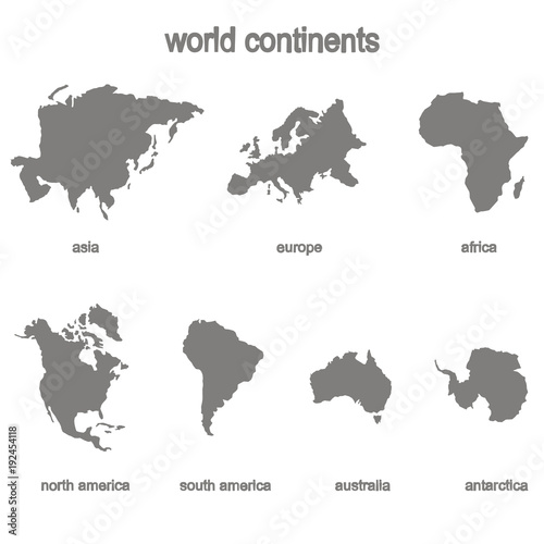 Fototapeta Set of monochrome icons with world continents for your design