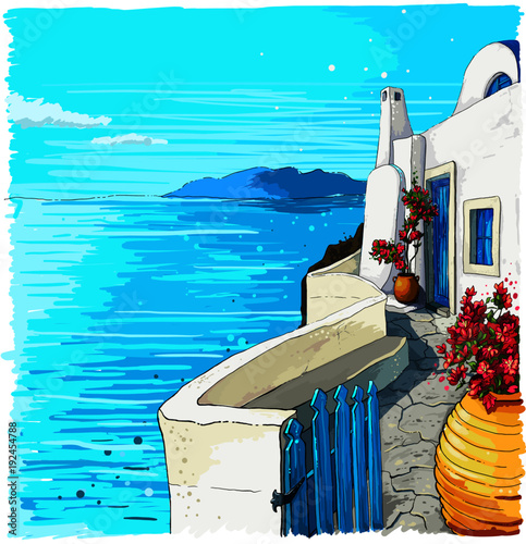 Poster Turquoise Greece summer island landscape. Santorini hand drawn square vector background. Picturesque sketch. Ideal for card, invitation, banners, posters.