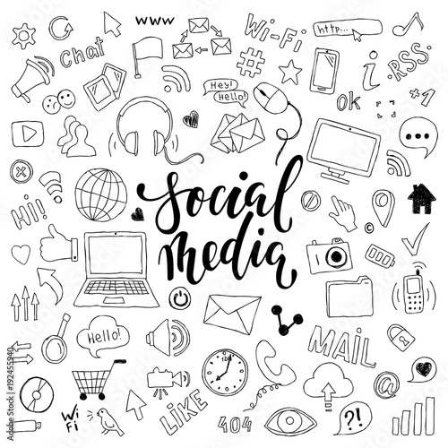 Obraz big set of hand drawn doodle cartoon objects and symbols with lettering. on the Social Media theme - fototapety do salonu