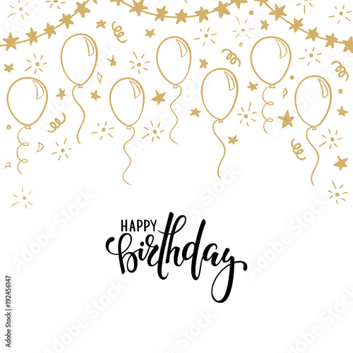 hand drawn calligraphy happy birthday lettering design holiday greeting
