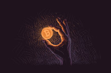 Glowing Bitcoin Coin In Hand Illustration. Vector.