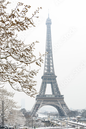 Deurstickers Eiffeltoren The Eiffel tower seen through snow-covered naked branches by a rare snowy day in Paris, with the top of the tower disappearing slightly in the mist.