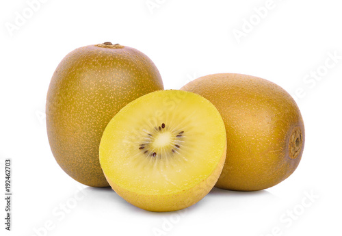 whole and half of yellow or gold kiwi fruit isolated on white background