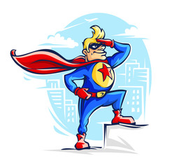 Brave superhero man in costume with red cloak and star