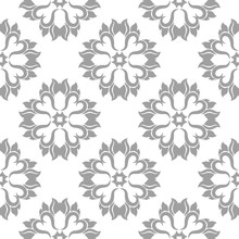 Gray Floral Seamless Pattern On White Background