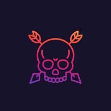 Skull With Arrows Vector Linea...