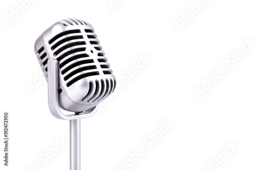 Slika na platnu Retro microphone isolated on white background