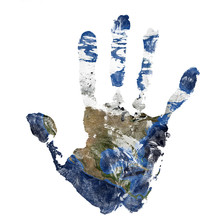 Real Hand Print Combined With A Map Of North America - Of Our Blue Planet Earth. Elements Of This Image Furnished By