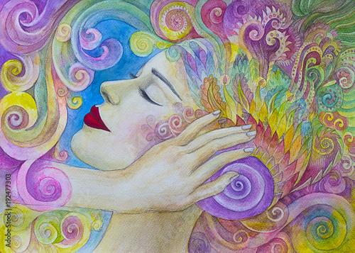 Fotografia  bella donna dipinto acquerello rilassamento concentrazione