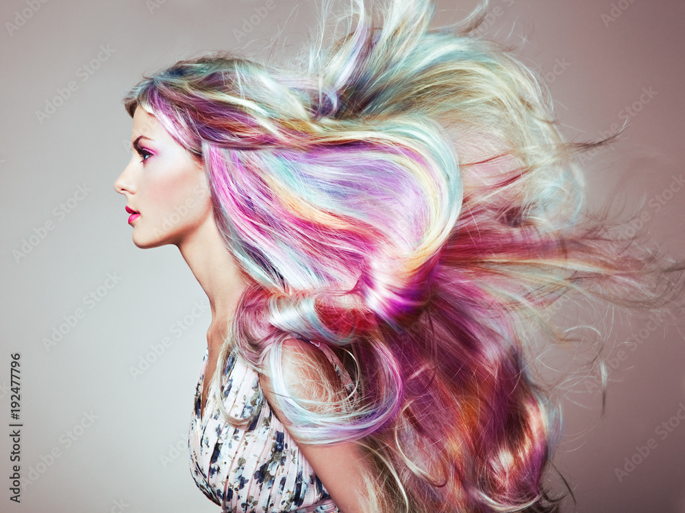 Fototapety, obrazy: Beauty Fashion Model Girl with Colorful Dyed Hair. Girl with perfect Makeup and Hairstyle. Model with perfect Healthy Dyed Hair. Rainbow Hairstyles