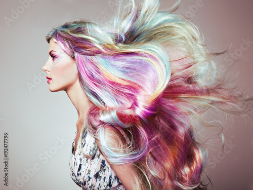 Tuinposter Kapsalon Beauty Fashion Model Girl with Colorful Dyed Hair. Girl with perfect Makeup and Hairstyle. Model with perfect Healthy Dyed Hair. Rainbow Hairstyles