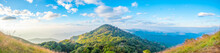 Panorama Mountains And Tree With Beautiful Blue Sky And Cloud  In The Morning.