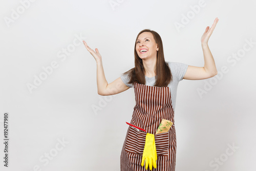 Young smiling housewife in striped apron with cleaning rag