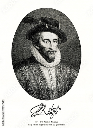 Fotografía Walter Raleigh, English courtier and explorer (from Spamers Illustrierte Weltges