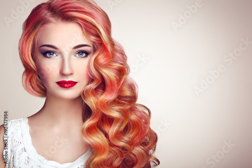 Recess Fitting Hair Salon Beauty Fashion Model Girl with Colorful Dyed Hair. Girl with perfect Makeup and Hairstyle. Model with perfect Healthy Dyed Hair. Rainbow Hairstyles