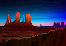 Mountain And Monument Valley, Night Panoramic View, Peaks, Landscape Early In Daylight. Travel Or Camping, Climbing, Vector Illustration For Website Or Banner. Outdoor Hill Tops, Hunts Mesa, Arizona