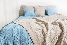 Bedroom Bed Blanket Plaid Blue...
