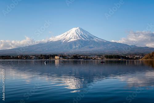 Mount fuji at Lake kawaguchiko with sunrise in the morning