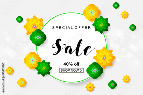 Sale Banner With Paper Flowers For Online Shopping Advertising