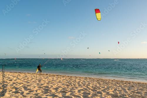 Fotomural Kitesurfing on the Mauritius beach