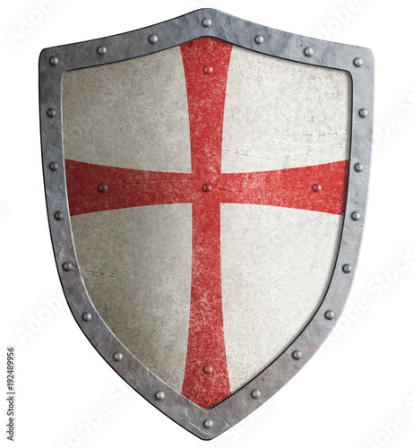 Fotomural Metal shield of medieval templar or crusader 3d illustration