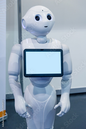 Photo Robot Assistant with Information screen at IT exhibition in Riga