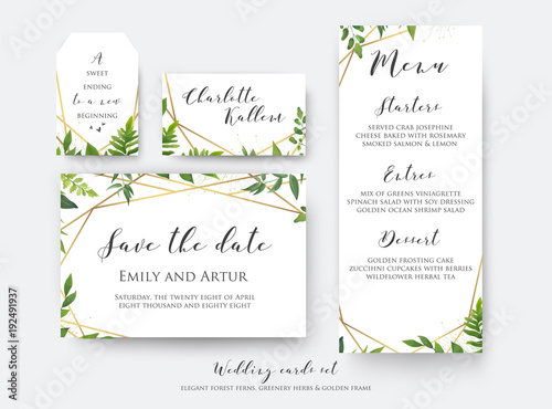 wedding floral save the date menu place card label template set