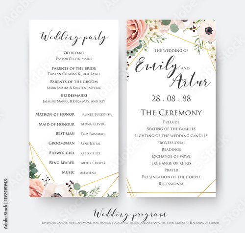 Fotografía Wedding program for party & ceremony card design with elegant lavender pink garden rose, anemone, wax flowers, eucalyptus branches, leaves & cute golden geometrical pattern