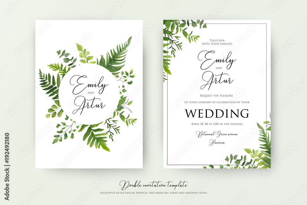 Fototapeta Wedding floral watercolor style double invite, invitation, save the date card design with forest greenery herbs, leaves, eucalyptus branches, fern fronds. Vector natural, botanical, elegant template
