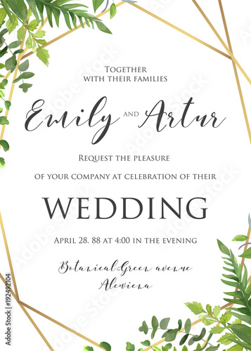 Wedding Floral Invitation Invite Save The Date Template
