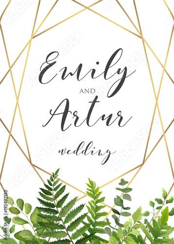 Vector Botanical Wedding Floral Invitation Invite Save The Date Card Elegant Modern Design