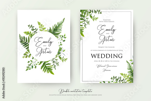 Fotografía  Wedding floral watercolor style double invite, invitation, save the date card design with forest greenery herbs, leaves, eucalyptus branches, fern fronds